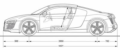Photo de supercar Audi R8: dimensions et principales caractéristiques